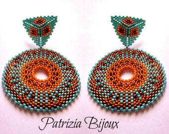 Africa earrings tutorial beads peyote circular - Rocailles Miyuki 15/0 and Delica 11/0