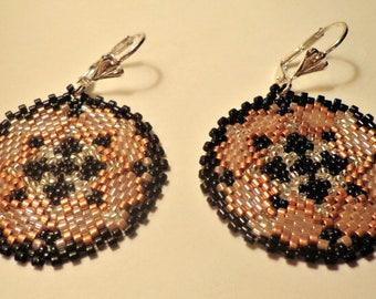 Tutorial earrings beads peyote circular - Rocailles Miyuki 11/0 and Delica 11/0 - Rhombus Fantasy
