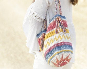 Shopping Bag with jacquard motif, cotton, handmade.