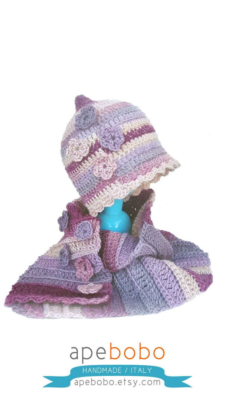 Beanie and Scarf with flowers wool handmade