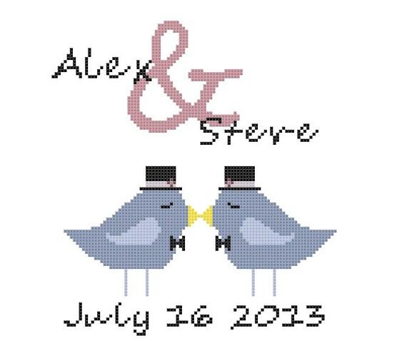 Gepersonaliseerde Bruiloft Cross Stitch Patroon Gay Huwelijk Etsy
