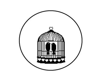 Birdcage Silhouette Cross Stitch Pattern, Cute Birds with Hearts and Cage Beginner Pattern