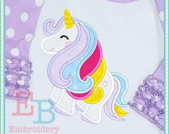Unicorn 2 Applique - This design is to be used on an embroidery machine. Instant Download