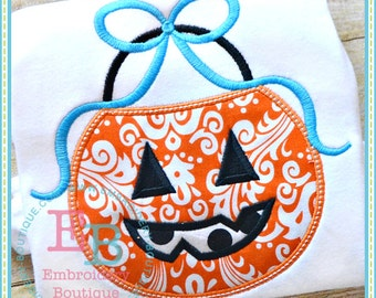 Pumpkin Bucket Bow Applique - This design is to be used on an embroidery machine. Instant Download