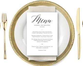 Printable Wedding Menu Card, Instant Download Editable Template - MODERN SCRIPT #MSC