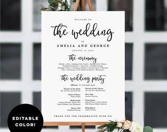 3 sizes wedding program sign template printable wedding etsy