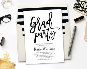 Printable Graduation Party Invitation - BRUSHED - with Bonus Printable Envelope Liner #BCC