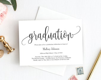 graduation party invitation template printable graduation invitation modern graduate instant download template lovely calligraphy lcc