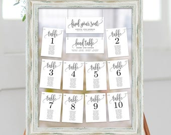 Wedding Seating Chart Template Set Printable Table Seating Plan   Editable  PDF Templates Instant Download Lovely Calligraphy Collection #LCC