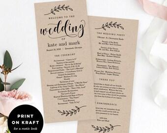 wedding program etsy