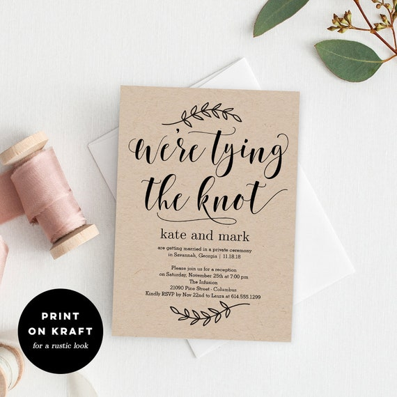 tying the knot invitation only printable wedding invitation etsy