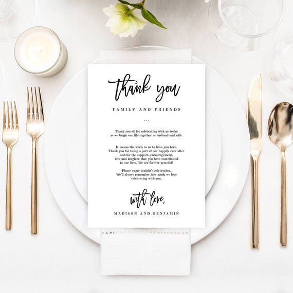 Printable Wedding Thank You Letter Welcome Cards Editable Etsy