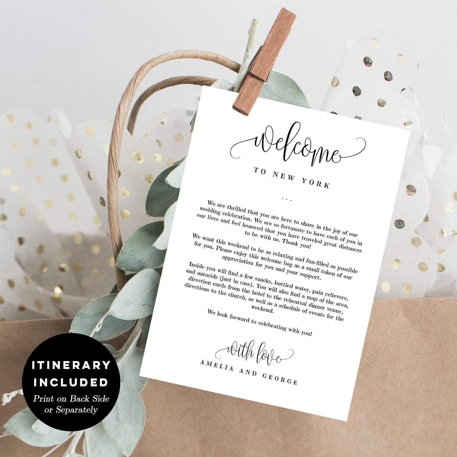 Wedding Welcome Thank You Letter And Wedding Itinerary Diy Etsy