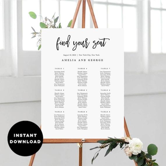 7 sizes wedding seating chart template editable wedding table etsy