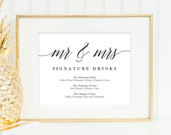 Printable Mr and Mrs Signature Drinks Bar Sign Template - Bride Groom Signature Cocktails Wedding Signs - in 5x7 and 8x10 Modern Script #MSC