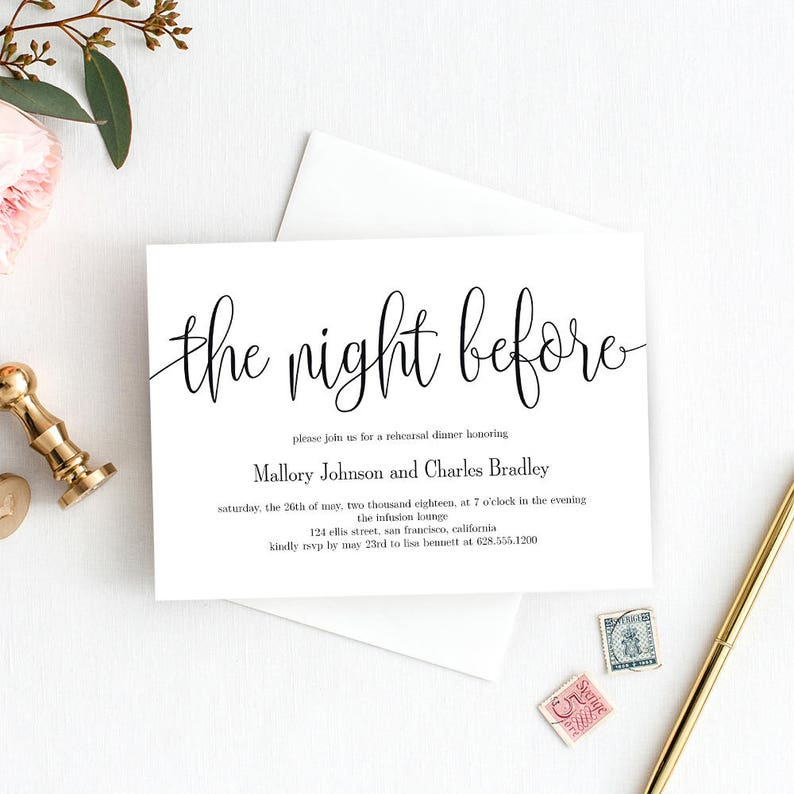 image about Printable Rehearsal Dinner Invitations named Printable Rehearsal Supper Invitation Template - The Night time Prior to Rehearsal Supper Invitation Quick Down load - Stunning Calligraphy #LCC