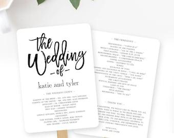 Wedding Program Fan or Flat Wedding Program Templates - Printable Instant Download - Brushed Modern #BCC