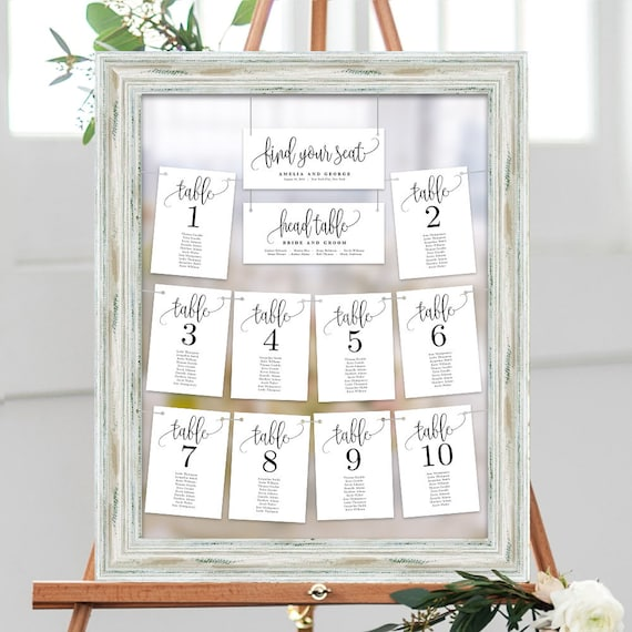 wedding seating chart template set printable table seating etsy