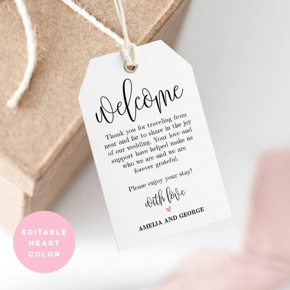 Printable Welcome Tag Wedding Welcome Bag Tag Favor Tag Editable Pdf Template Instant Download Lovely Calligraphy Lcc