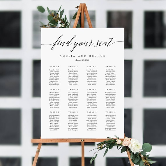 ON SALE 7 Sizes Wedding Seating Chart Template Editable Etsy