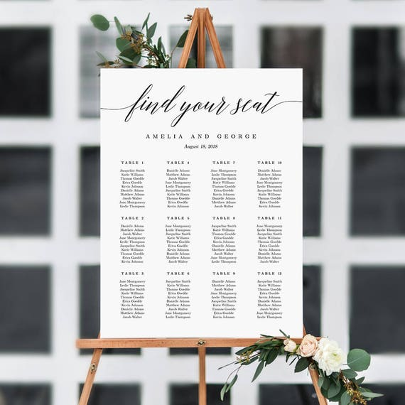 On sale 7 sizes wedding seating chart template editable etsy image 0 maxwellsz