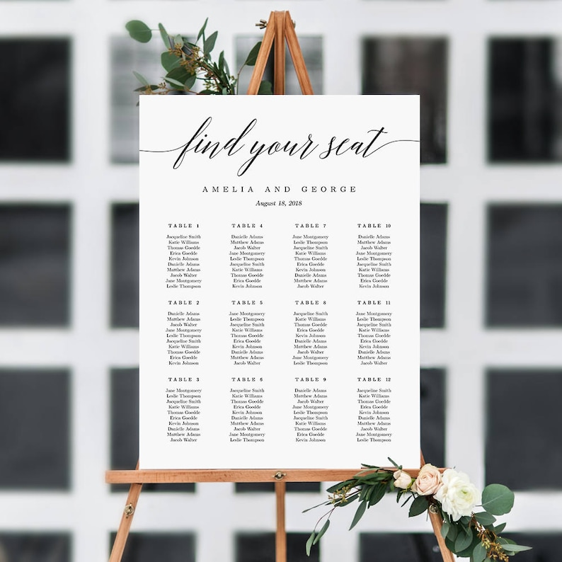 ON SALE  7 Sizes Wedding Seating Chart Template Editable image 0