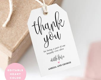 Printable Wedding Thank You Tag, Wedding Favor Tag, Wedding Welcome Bag - Editable PDF Template, Instant Download Lovely Calligraphy #LCC