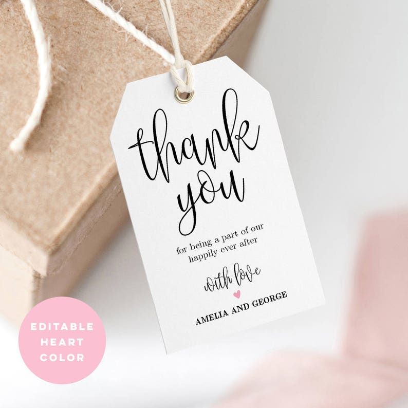 image about Free Printable Wedding Favor Tags referred to as Printable Wedding day Thank Your self Tag, Wedding ceremony Want Tag, Marriage Welcome Bag - Editable PDF Template, Immediate Down load Gorgeous Calligraphy #LCC