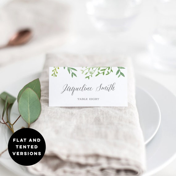 photo regarding Avery Printable Place Cards referred to as Botanical Leaves Printable Wedding day Point Playing cards Editable Template - Avery Suitable Vacation spot Card Templates - Fast Obtain #BOC