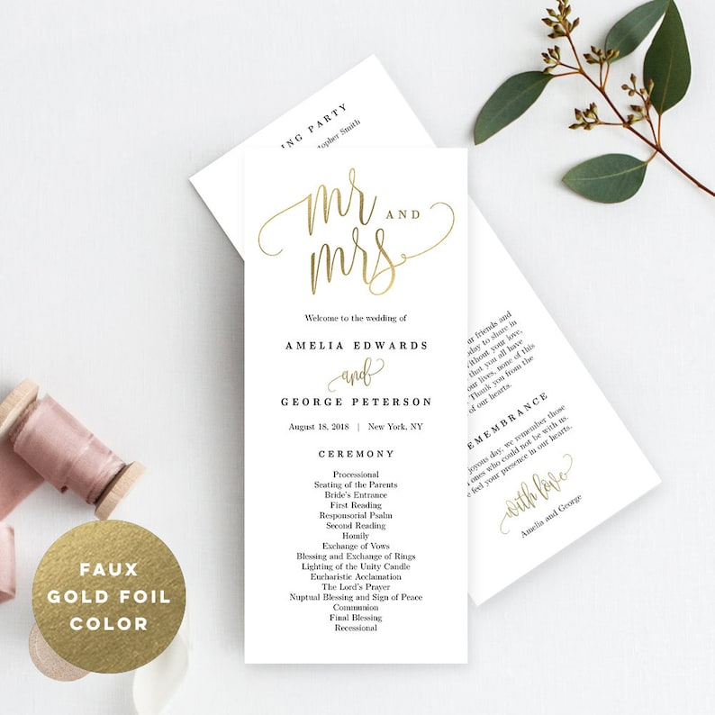 picture regarding Printable Wedding Programs known as Marriage ceremony Application Editable Template - Printable Marriage Software package - Prompt Down load - Attractive Calligraphy #LCC Fake Gold Foil Coloration