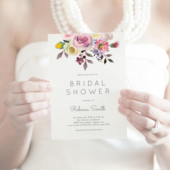 Simply Pretty Printable Bridal Shower Invitation Template Etsy