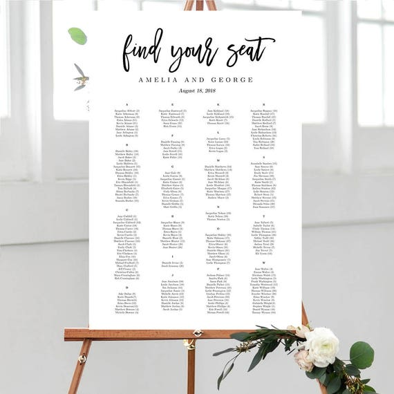 7 Sizes Wedding Seating Chart Template Editable Wedding Table Etsy