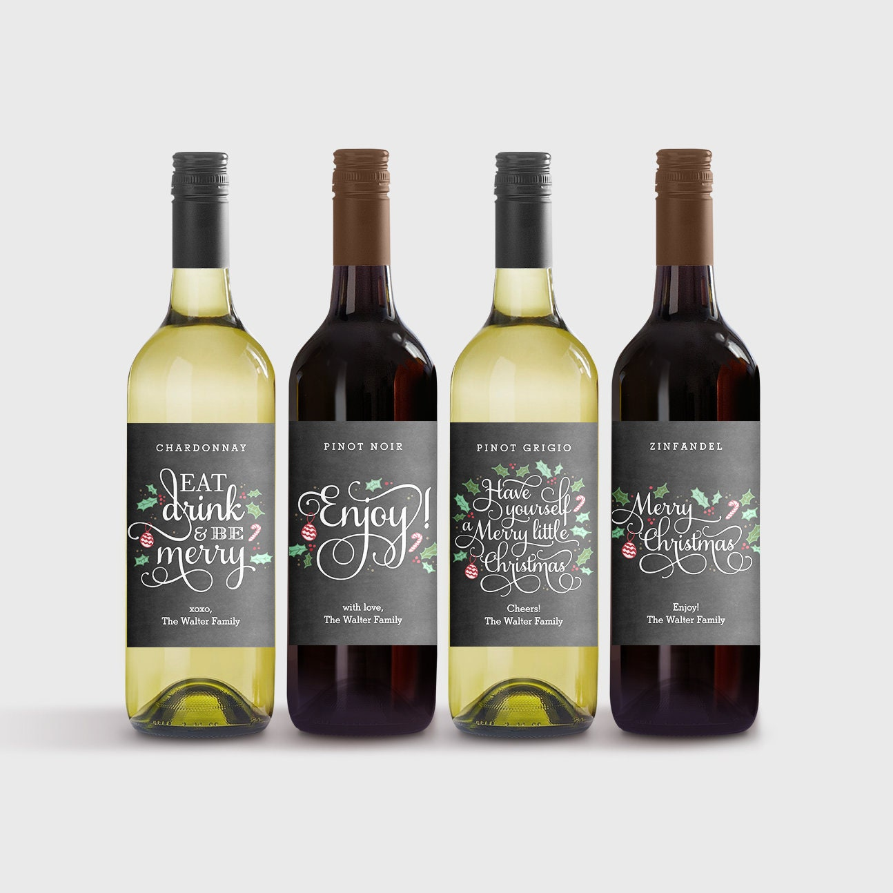 Set Of 4 Christmas Wine Labels Template Printable Wine