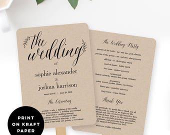 Wedding Program Fan or Flat Wedding Program Templates - Printable Instant Download - Rustic Branches #RBC