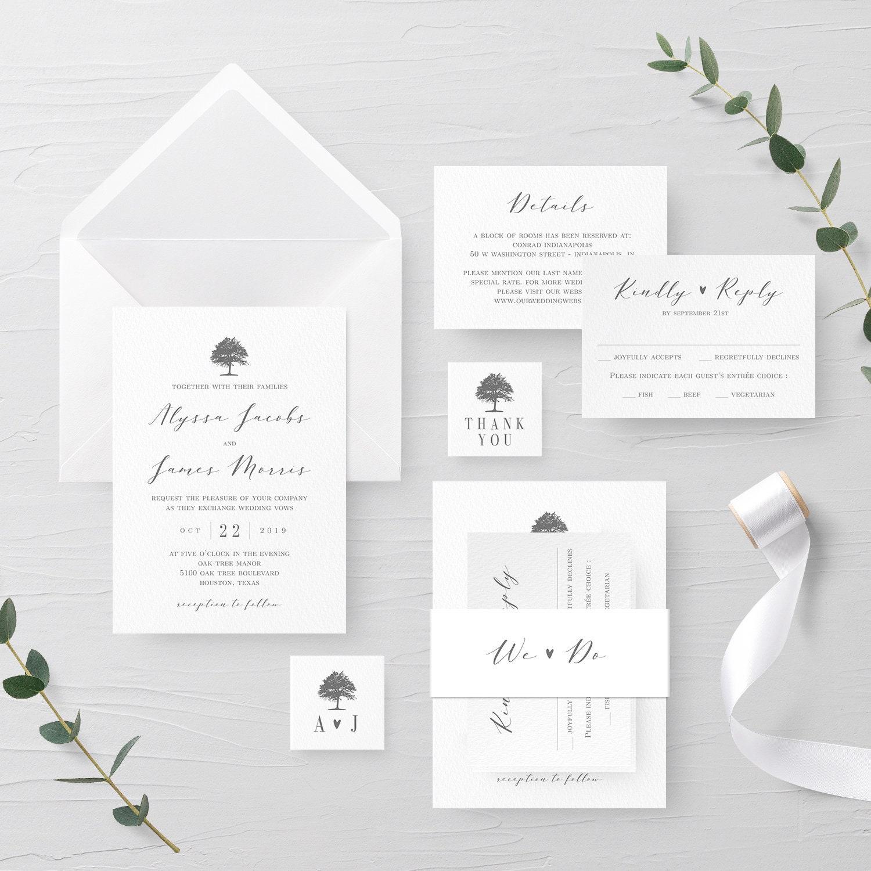 Whimsical Tree Wedding Invitation Suite Editable Template Outdoor