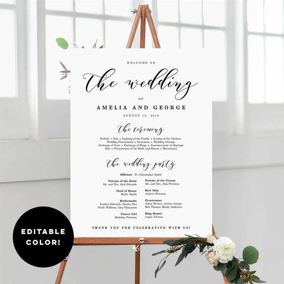 editable color 3 sizes wedding program sign template wedding