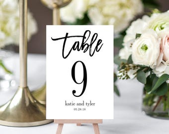 Instant Download Table Number Card, BRUSHED - Printable Template #BCC