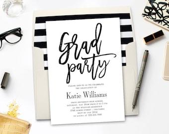Printable Graduation Party Invitation - BRUSHED - with Bonus Printable Envelope Liner #BCC