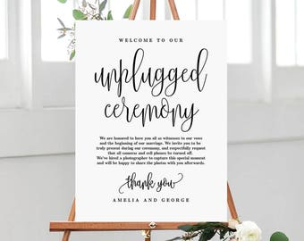 3 Sizes Unplugged Ceremony Wedding Sign - Editable PDF Template Instant Download - Lovely Calligraphy #LCC