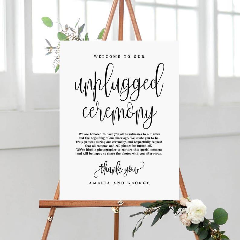 3 Sizes Unplugged Ceremony Wedding Sign  Editable PDF image 0