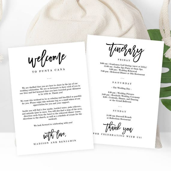 Wedding welcome thank you letter and wedding itinerary diy etsy image 0 expocarfo Images