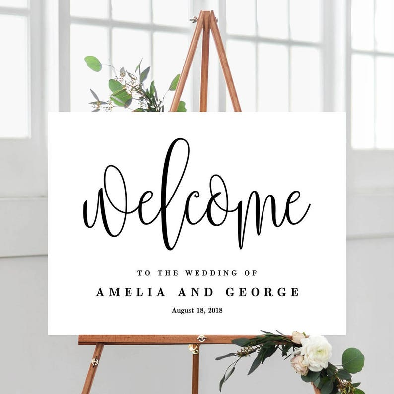 3 Sizes Modern Wedding Welcome Sign Poster  Editable PDF image 0