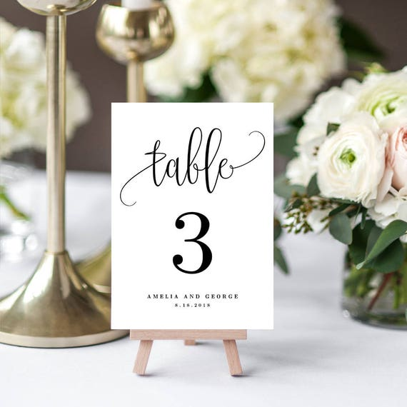 Floral Editable Table Number Sign DIY Table Numbers Template Editable Instant Download Table Number Card #TN051 B Printable Table Numbers