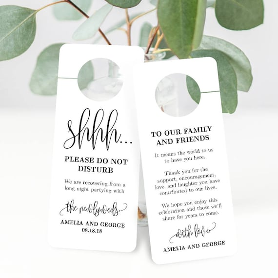 Printable Door Hanger Wedding Sign - Double Sided Shhh Do Not Disturb and  Welcome Door Sign Editable Template - Lovely Calligraphy #LCC