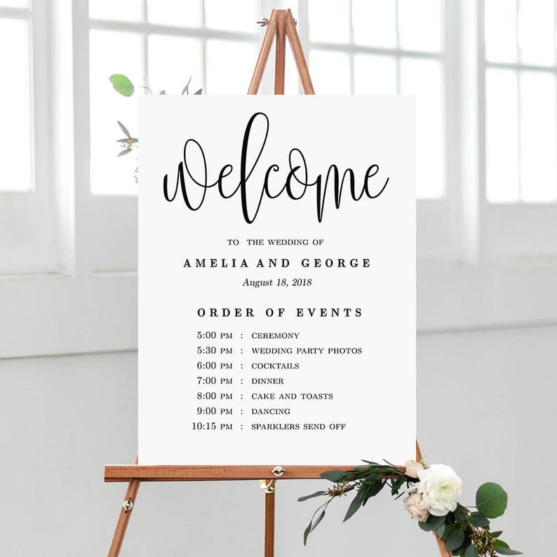 Order Of Events Wedding.Wedding Welcome Order Of Events Sign Wedding Welcome Sign Editable Pdf Template Instant Download Lovely Calligraphy Lcc