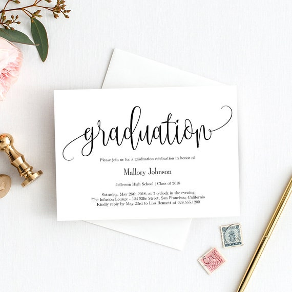 graduation party invitation template printable graduation etsy