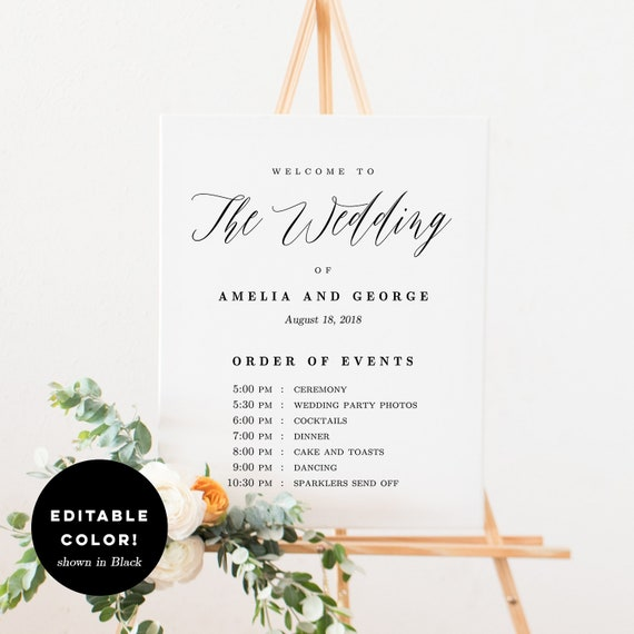Editable Color Wedding Welcome Order Of Events Sign Wedding Etsy - Out of order sign pdf