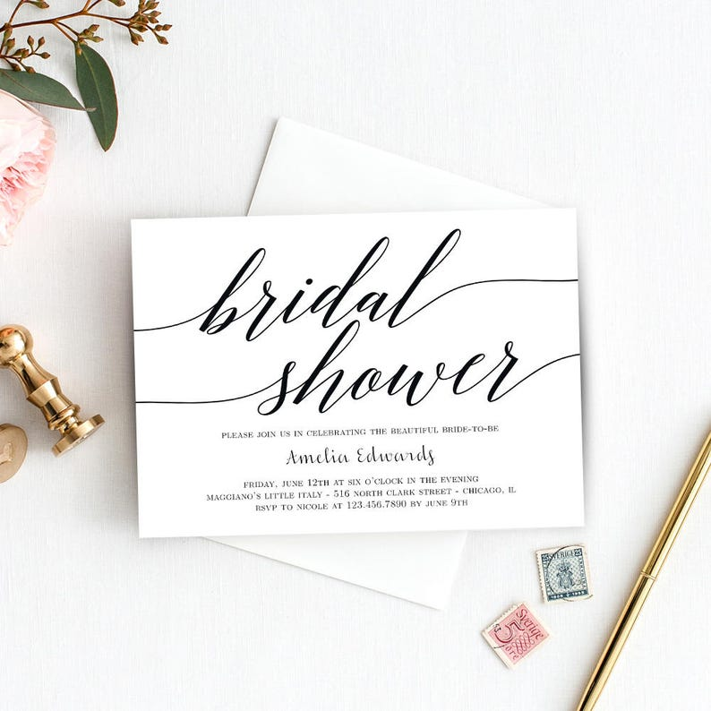 image relating to Printable Bridal Shower Invites known as Printable Bridal Shower Invitation Template - Immediate Obtain - Ground breaking SCRIPT - with Reward Printable Envelope Liner #MSC