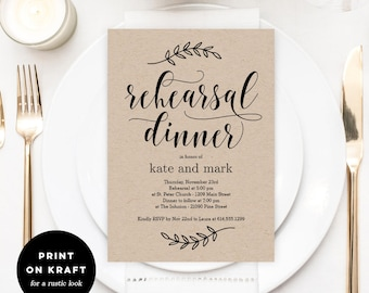 Printable Rehearsal Dinner Invitation Template - Rustic Wedding Rehearsal Dinner - Instant Download - Rustic Elegance #REC