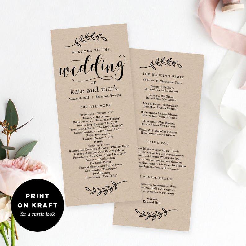 Wedding Program Editable Template  Printable Wedding Program image 0